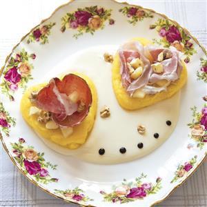 Lui e lei di culatello e pancetta con polenta